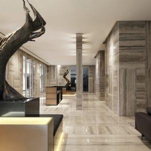 Hall d'hôtel en travertin gris silver